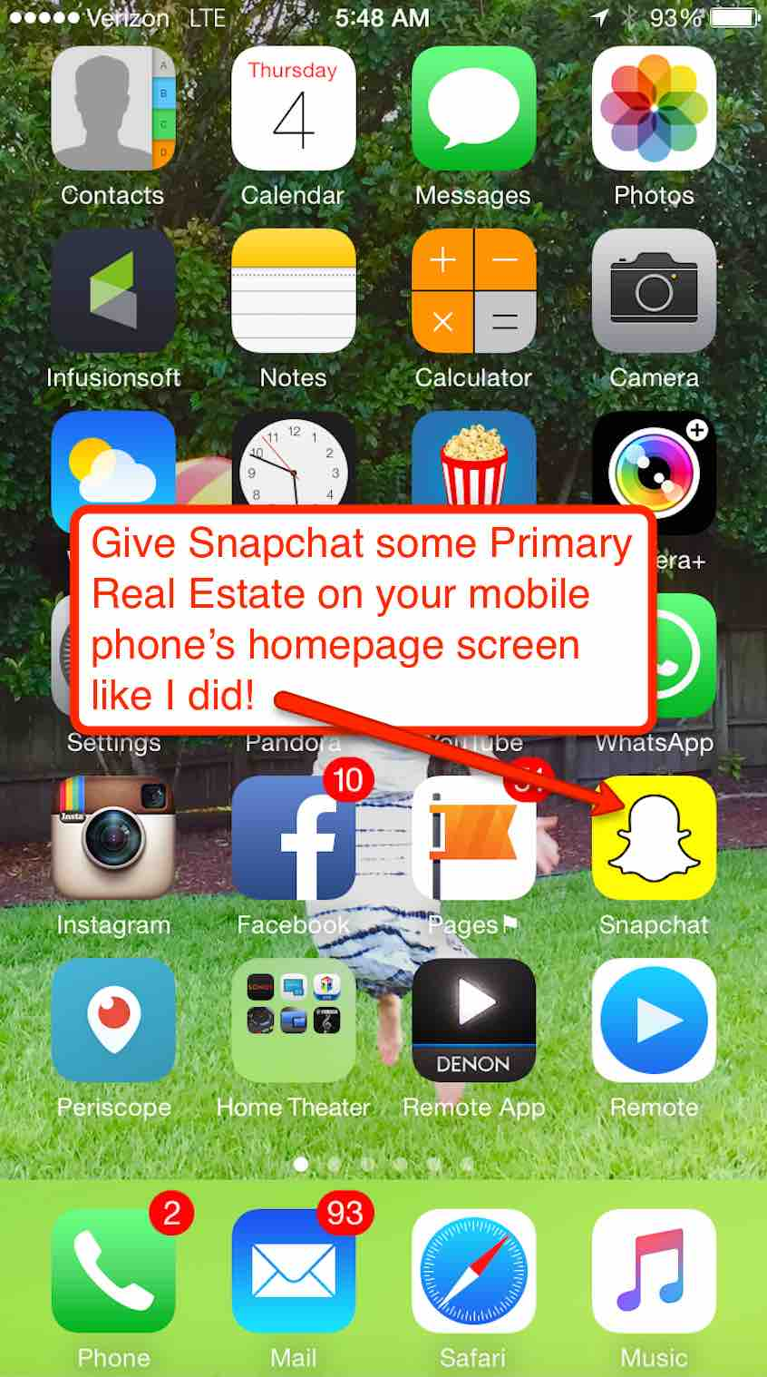 snapchat on homepage Cesar's phone